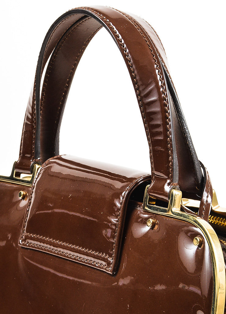 "Yves Saint Laurent Rive Gauche Brown Patent Leather ""Small Uptown"" Frame Bag Detail 2"