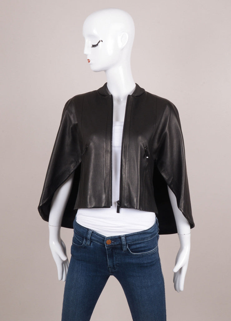 New With Tags Black Leather Ribbed Collar and Front Zip Cape Jacket