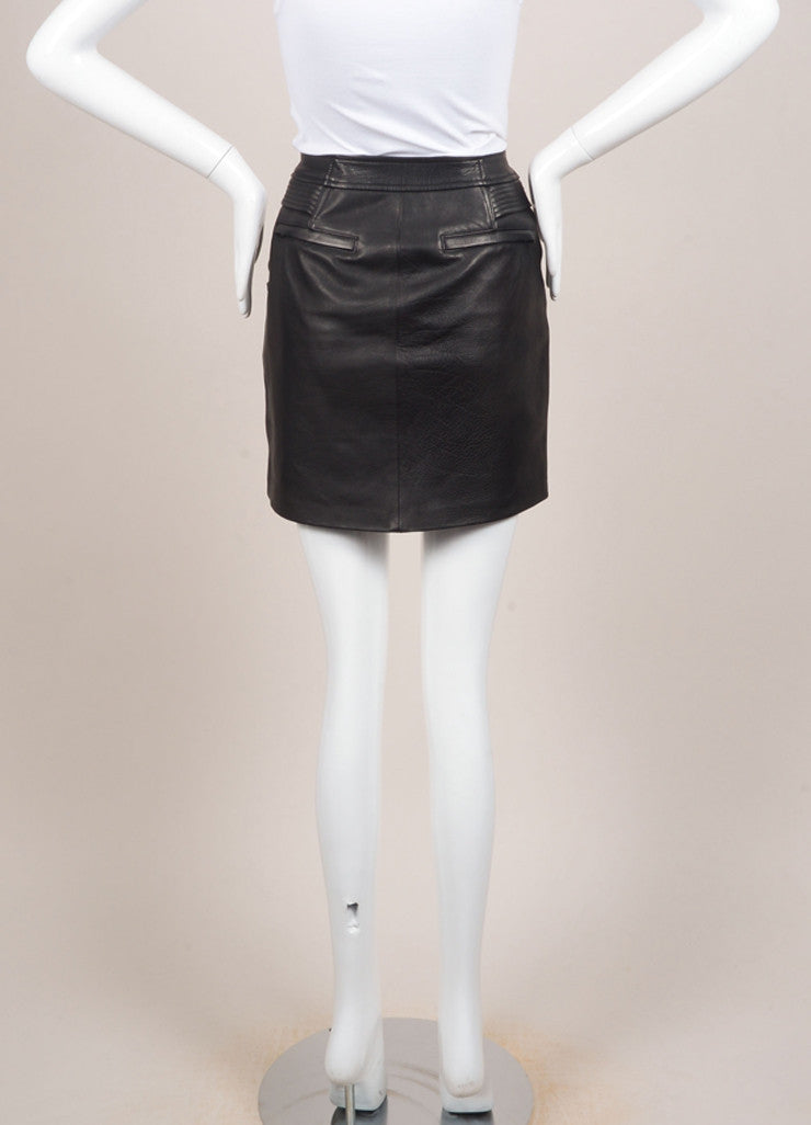"A.L.C. New With Tags Black Multi-Pocket Quilted Trim Zip ""Peter"" Leather Skirt Backview"