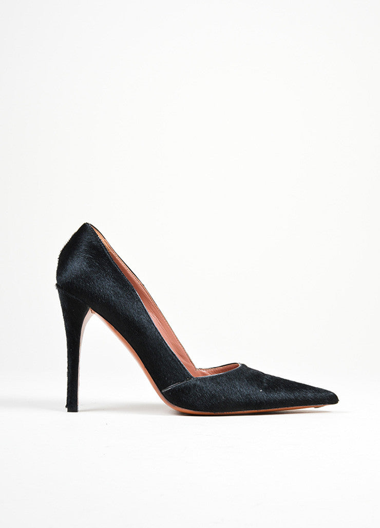 Black Pony Hair and Leather Alaia High Heel Pointed Toe Pumps Sideview
