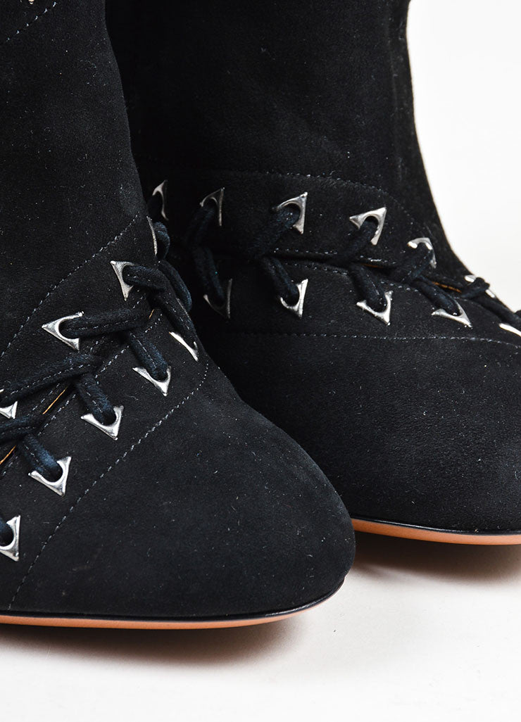 Black Alaia Suede Leather Diagonal Laced High Heel Tall Boots Detail