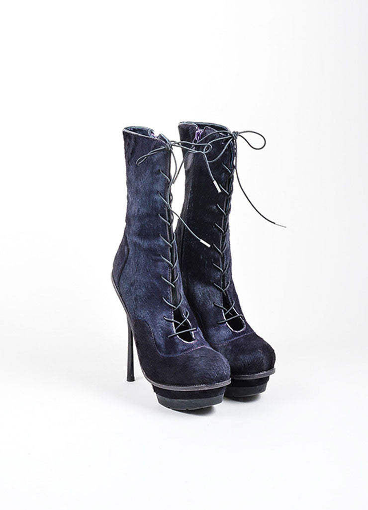 Dark Purple Alexander McQueen Pony Hair Lace Up Platform Heeled Boots Frontview