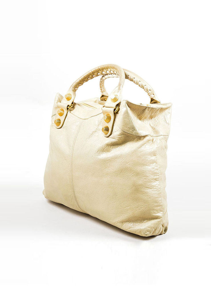 "Beige Leather Balenciaga ""Motocross Giant Brief"" Bag Sideview"
