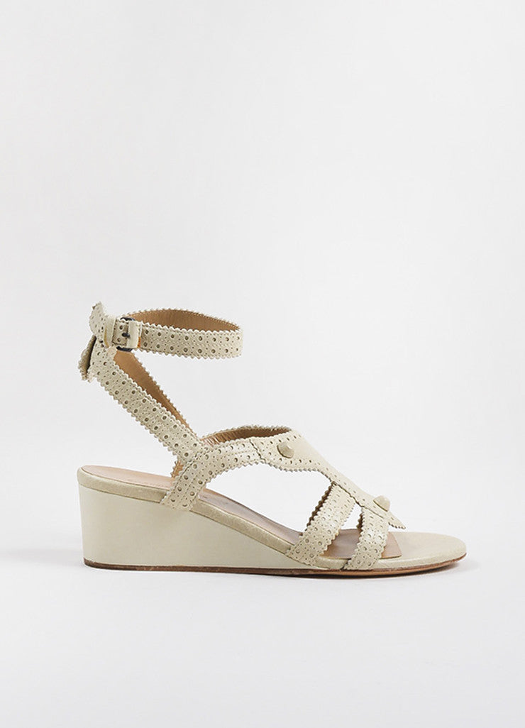 "Balenciaga Beige Distressed Leather Classic Covered ""Brogue"" Wedge Sandals Sideview"