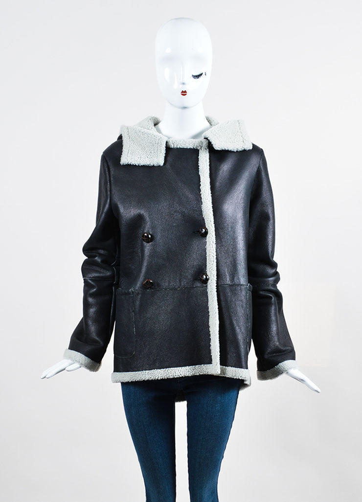 Boy by Band of Outsiders Black Leather Shearling Lined Hooded Jacket Frontview 2