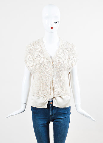 Brunello Cucinelli Cream Crochet Silk Layered Button Beaded Cardigan Vest Frontview 2