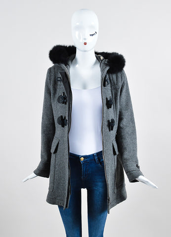 Burberry Brit Grey Wool Fox Fur Trimmed Duffle Hooded Toggle Coat Frontview