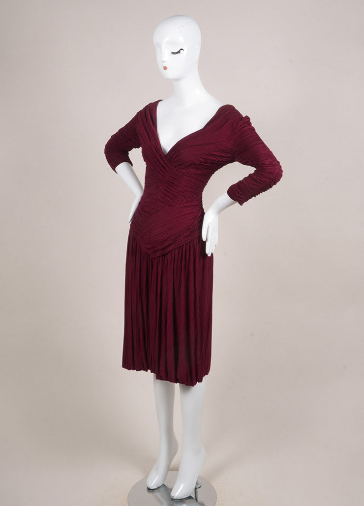 Burberry Prorsum New With Tags Burgundy Jersey Ruched Pleated Crop Sleeve Dress Sideview