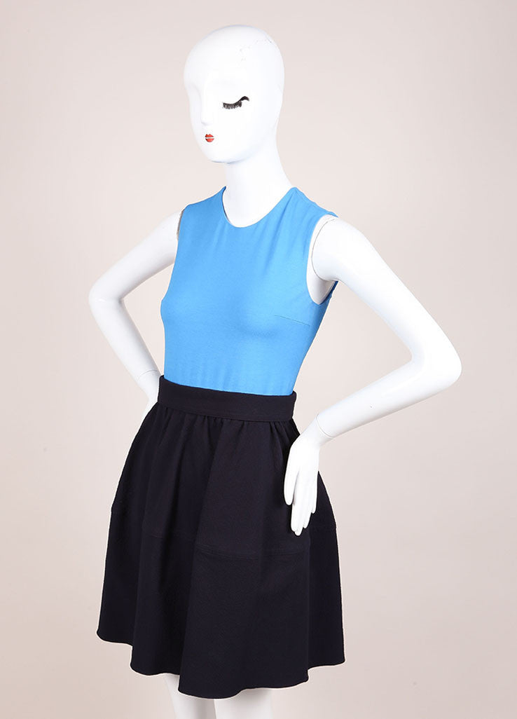 Carven Navy Blue Colorblock Sleeveless Combo Dress Sideview