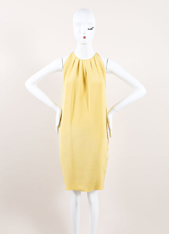 Celine Mustard Yellow Silk Pleated Sleeveless Trapeze Dress Frontview