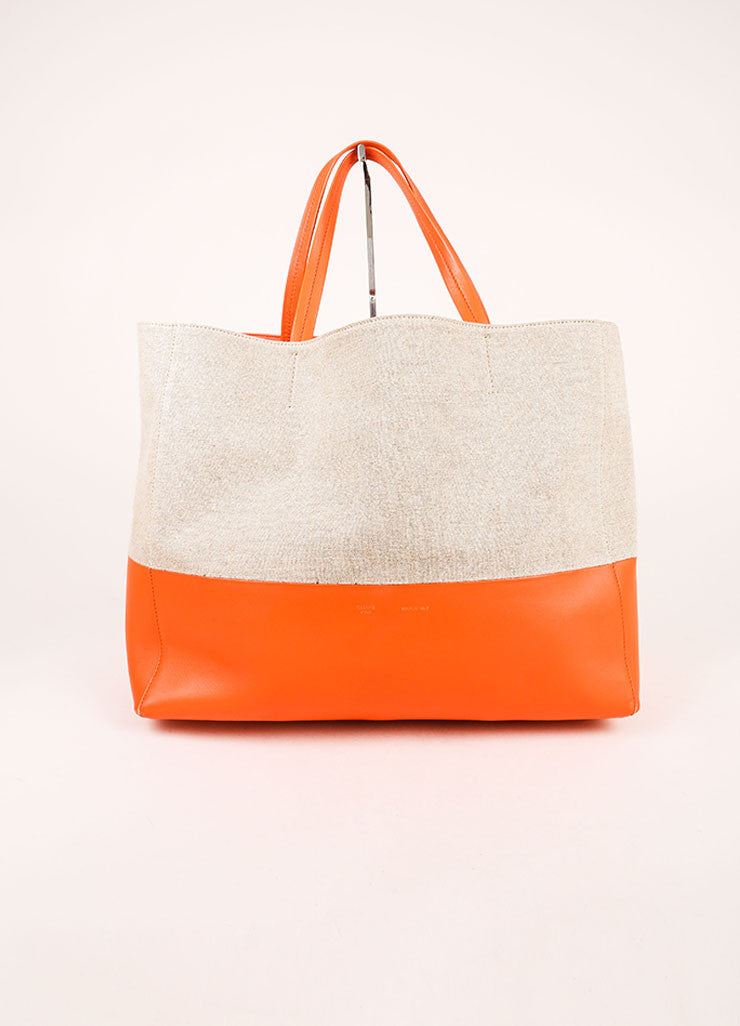 "Celine Orange and Natural Linen and Leather ""Horizontal Bi Cabas"" Tote Bag Frontview"