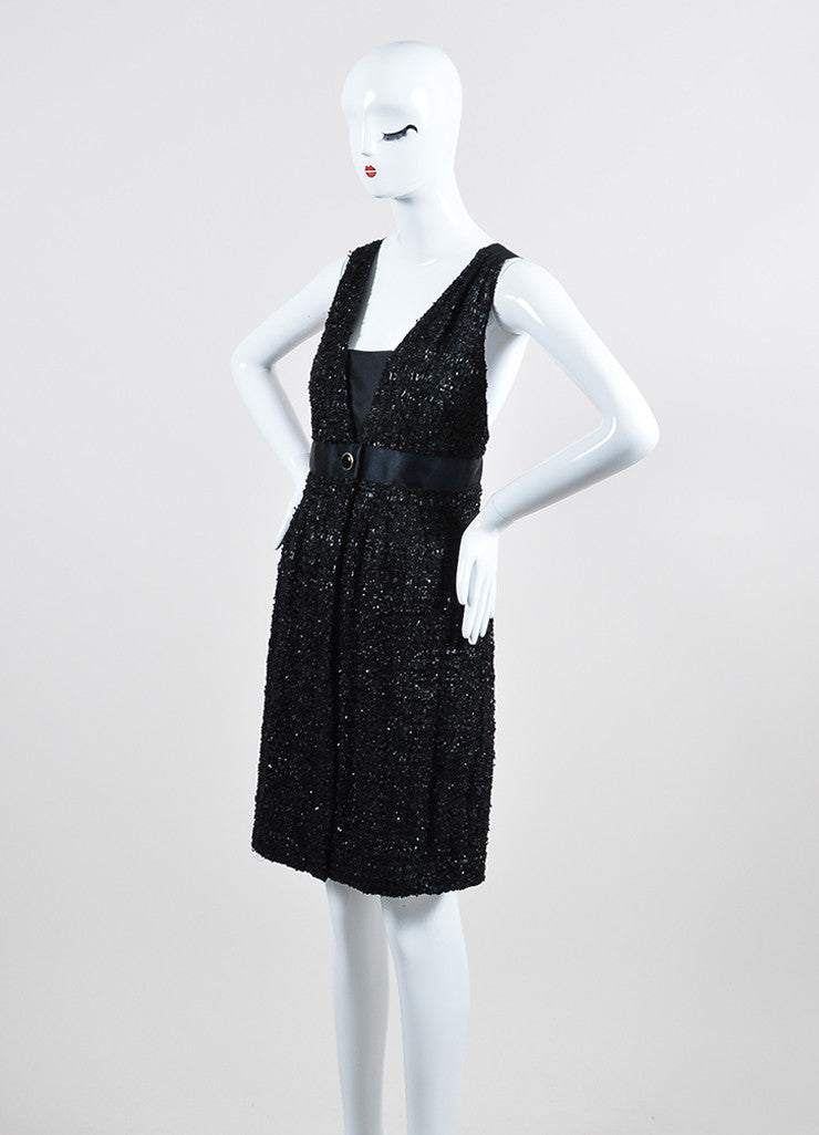 Black Chanel Glossy Tweed Satin Cross Strap Sleeveless Dress Sideview