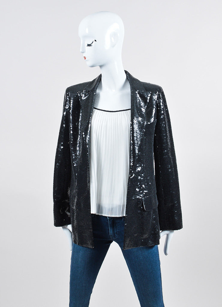Black Sequin Chanel Blazer Jacket Frontview