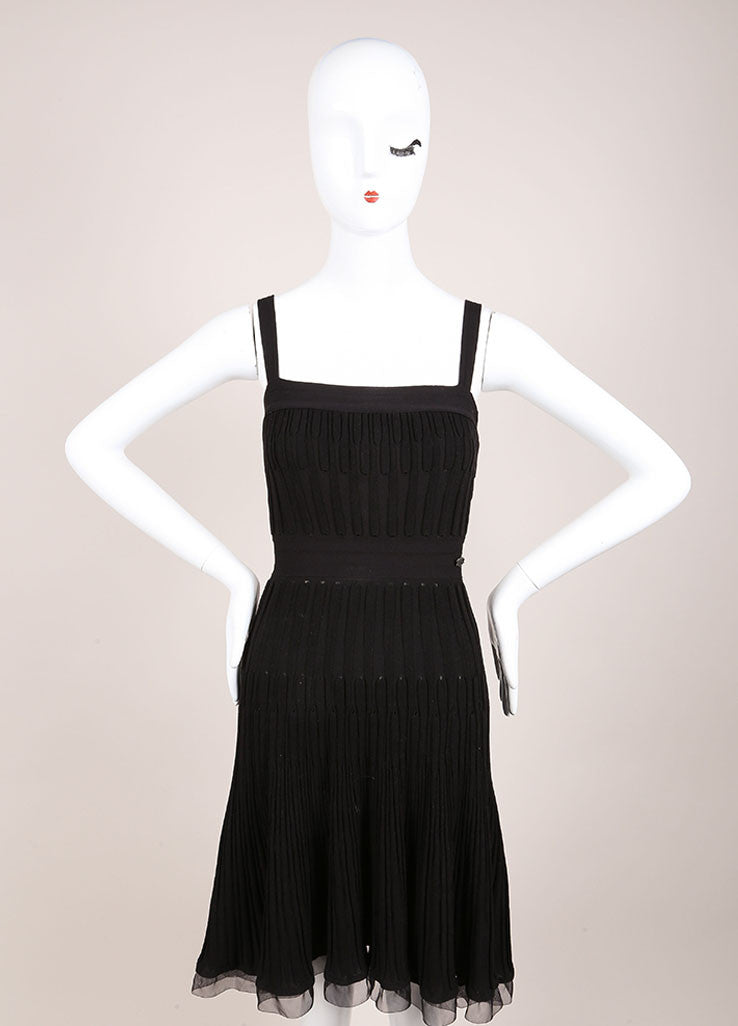Chanel Black Wool Woven Knit Frayed Chain Embellished Sleeveless Dress Frontview