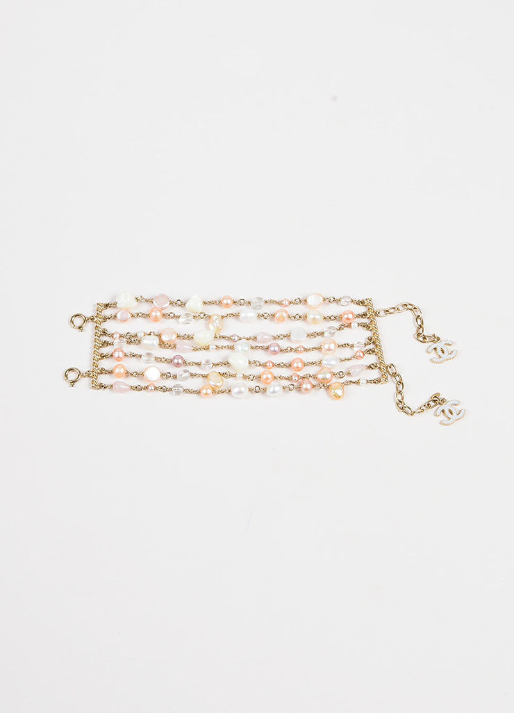 Chanel Gold Toned and Pink Faux Pearl Beaded Multi Strand 'CC' Bracelet Frontview 2