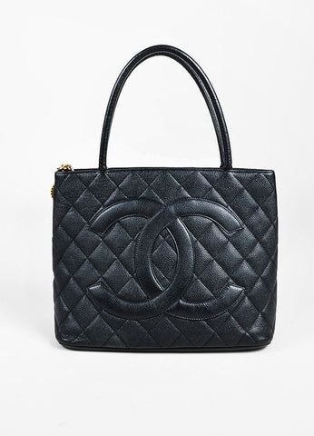 "Chanel Black GHW ""Medallion"" 'CC' Caviar Leather Top Handle Tote Bag Frontview"