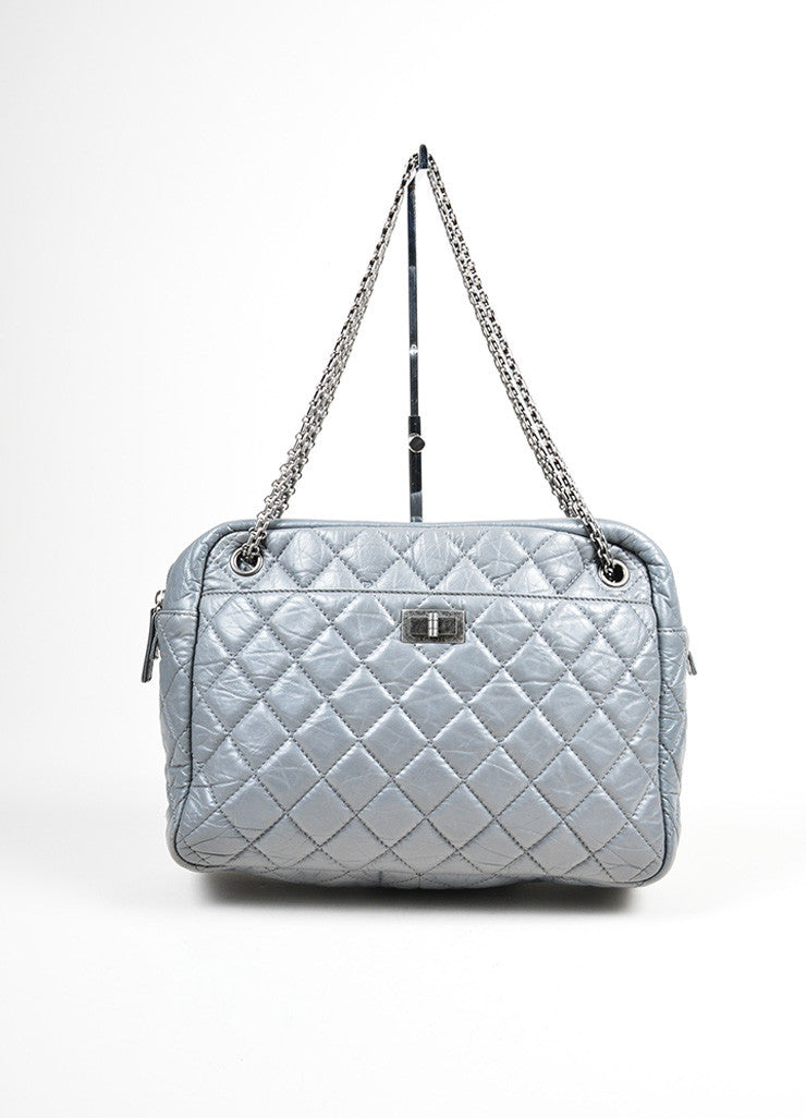 Gunmetal Grey Chanel Quilted Lambskin Leather Chain Reissue Camera Bag Frontview