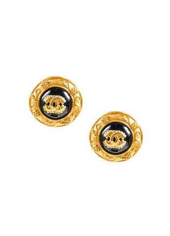"Chanel Gold Toned Enamel Floral ""CC"" Logo Embellished Earrings Frontview"