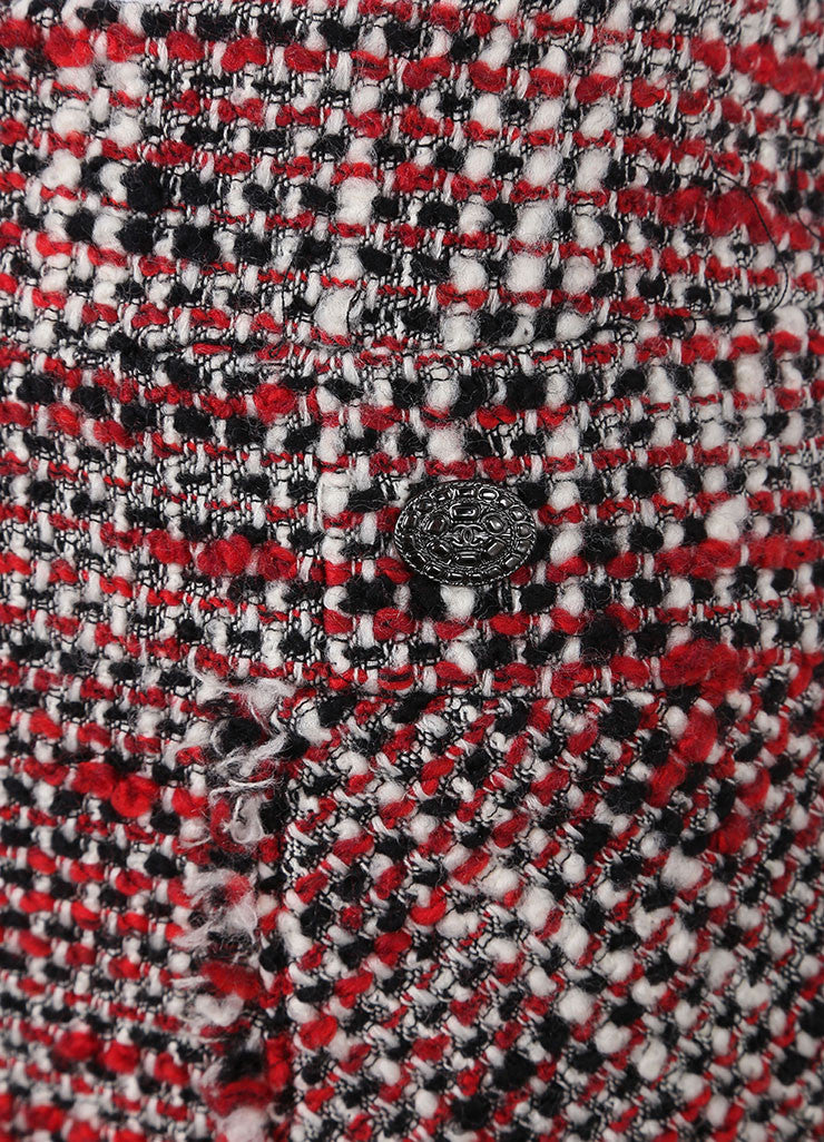 Chanel Black, Cream, and Red Wool Woven Skirt Detail