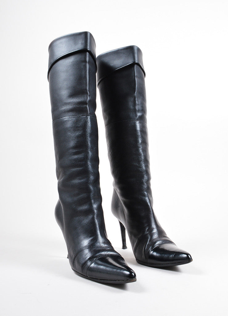 Chanel Black Leather Pointed Cap Toe Knee High Heeled Boots Frontview
