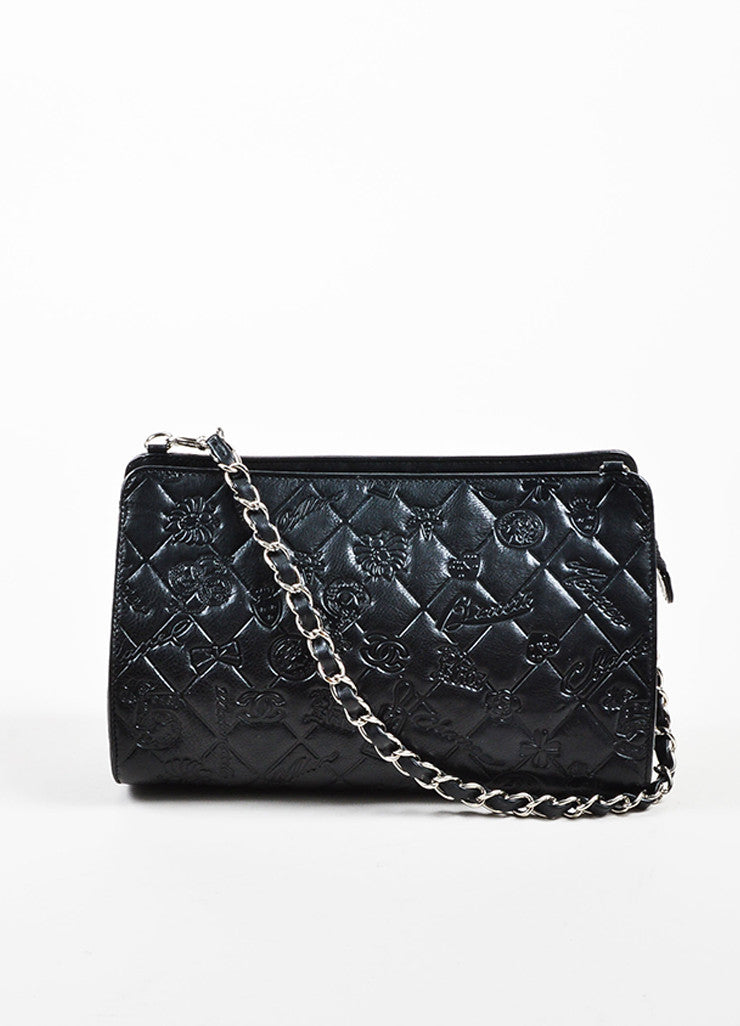 "Black Chanel Leather Quilted Embossed ""Precious Symbols"" Chain Shoulder Bag Frontview"