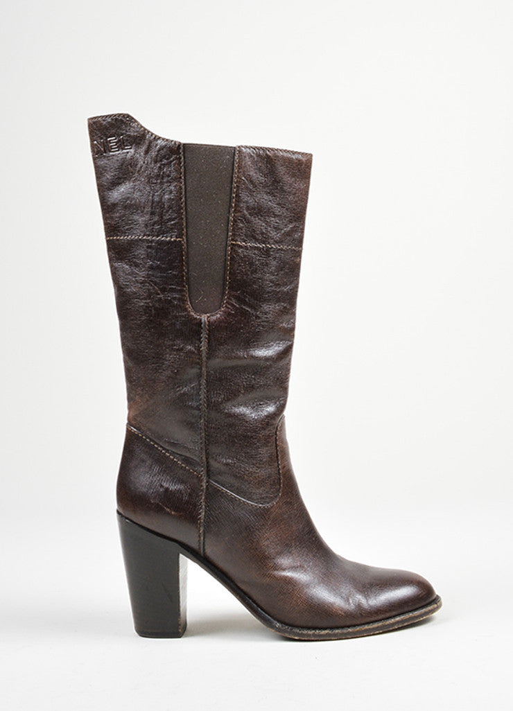 Brown Grained Leather Chanel Round Toe Heeled Mid Calf Boots Sideview