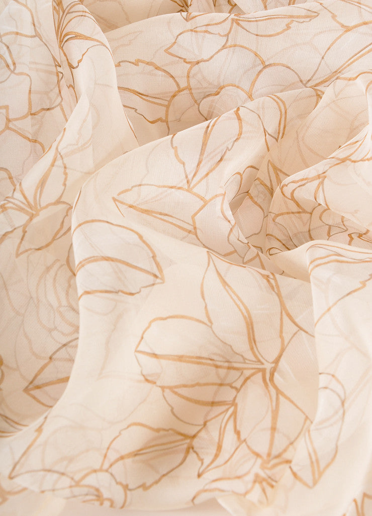 Chanel Cream and Taupe Floral Print Semi-Sheer Silk Scarf Detail