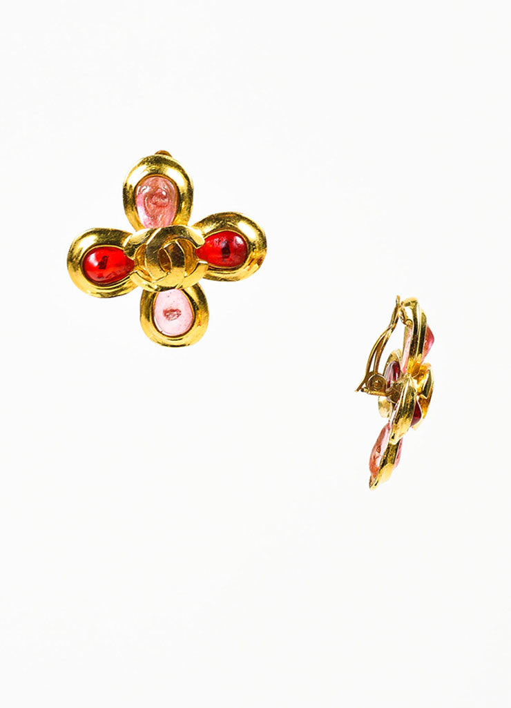 Gold Toned, Red, and Pink Gripoix Stone Chanel 'CC' Logo Flower Clip On Earrings Sideview