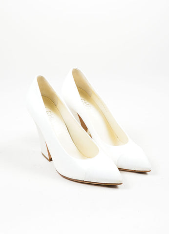Ivory White Chanel Leather and Satin Grosgrain Faux Pearl Pointed Toe Pumps Frontview