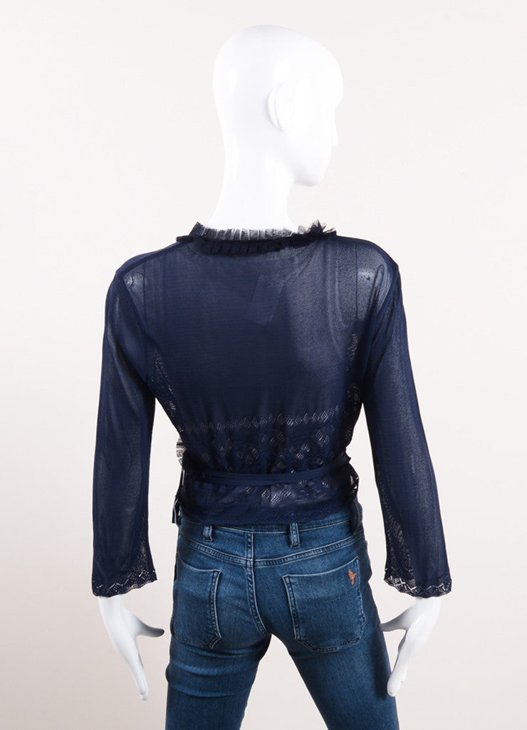 "Chanel Navy Blue Knit Tulle Ruffle Trim ""CC"" Logo Wrap Tie Cropped Sweater Backview"