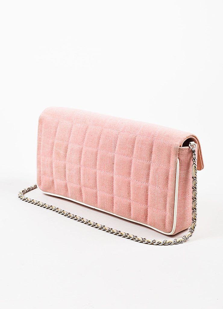 "Chanel Pink and White Canvas Leather Trim ""Chocolate Bar"" East West Shoulder Bag Sideview"