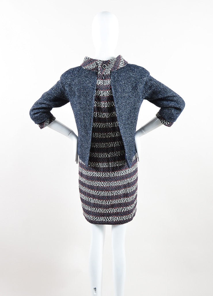 Chanel Red, White, and Blue Wool Blend Tweed Striped Dress and Attached Jacket Backview