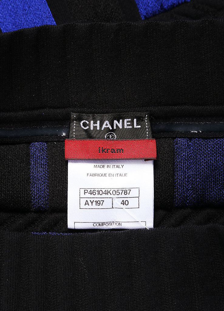 Chanel Blue and Black Knit Checkered Color Block Mesh Trim Strapless Dress Brand