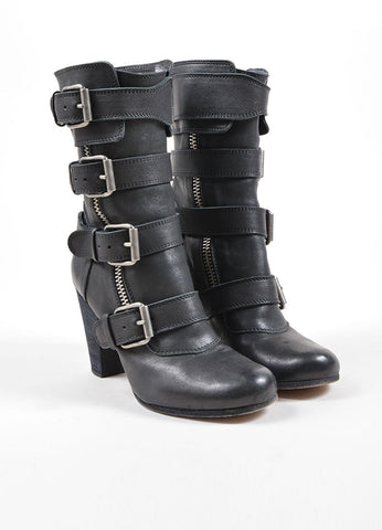 Chloe Black Leather Buckle Zip Up Mid Calf Motorcyle Boots Frontview