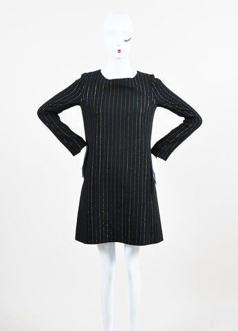 Black and Gold Chloe Silk and Wool Blend Pinstriped Long Sleeve Shift Dress Frontview