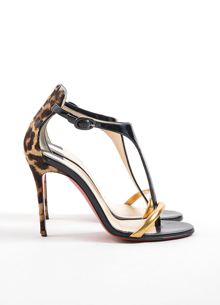 "Christian Louboutin Black Leather and Pony Hair ""Athena Atla 100"" Heels Sideview"