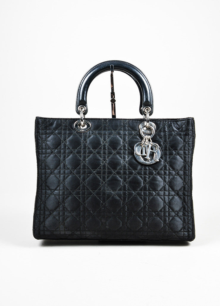 "Black Silk and Leather Christian Dior ""Cannage Large Lady Dior"" Cross Body Bag Frontview"