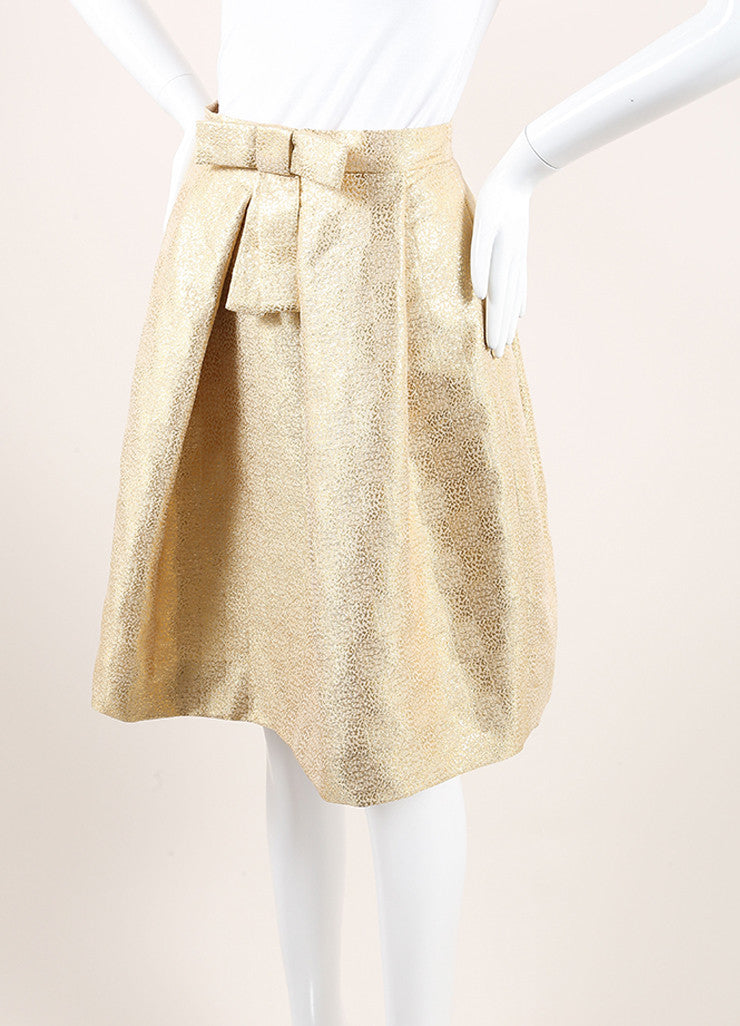 Christian Dior New With Tags Gold Metallic Pleated Bow Skirt Sideview