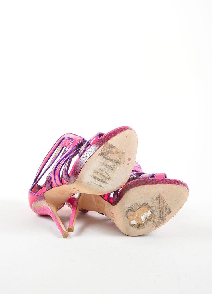 Christian Dior Pink and Purple Lizard and Patent Leather High Heel Cage Sandals Outsoles