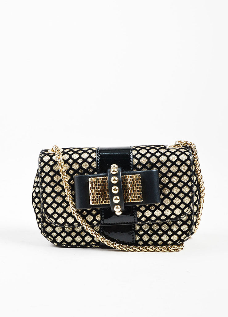 "Black and Gold Metallic Christian Louboutin Chain Strap ""Sweet Charity"" Evening Bag Frontview"