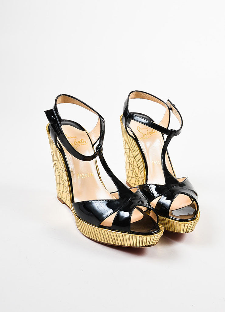 "Christian Louboutin Black Patent Leather Gold Mirror ""Cotton Club"" Wedges Frontview"