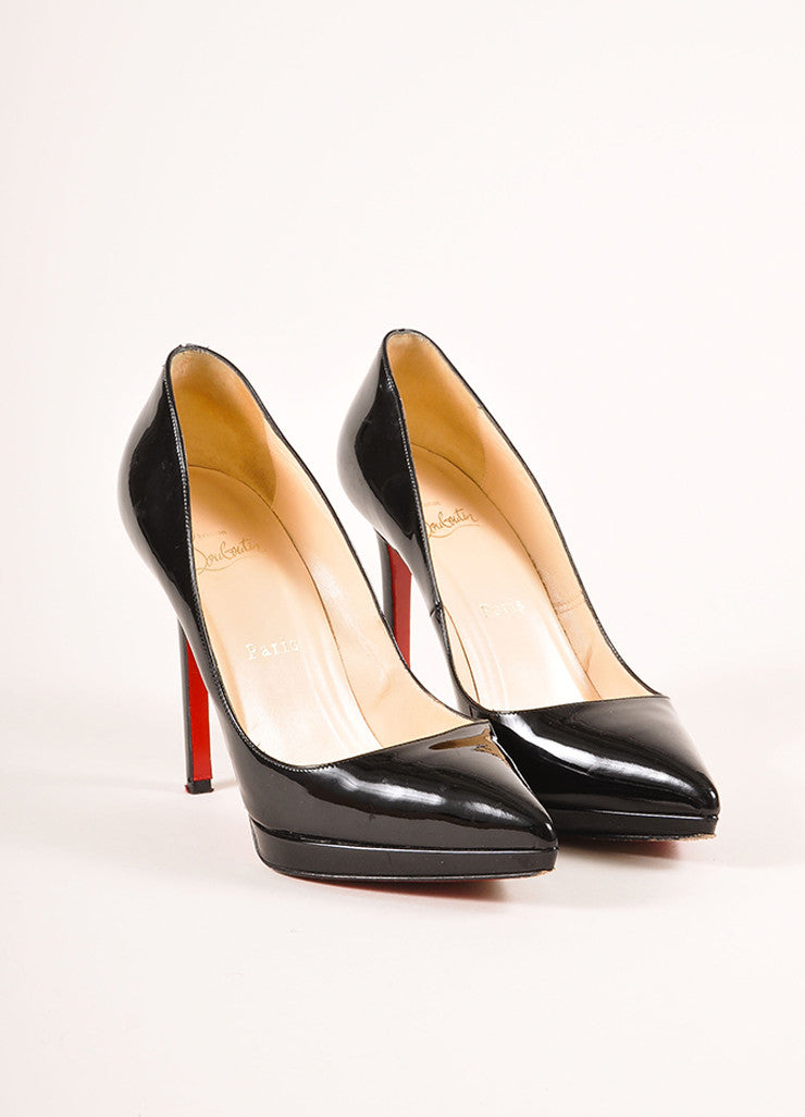 "Christian Louboutin Black Patent Leather ""Pigalle Plato 120mm"" Pumps Frontview"