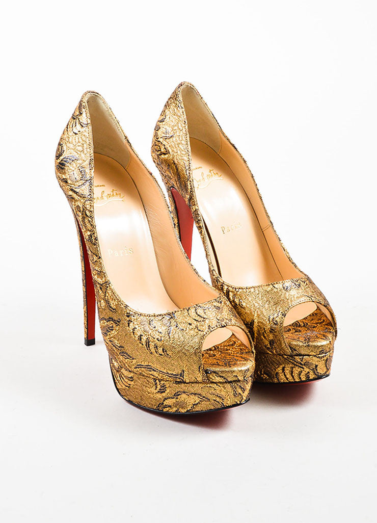 "Christian Louboutin Gold Brocade ""Lady Peep"" Platform Pumps Frontview"
