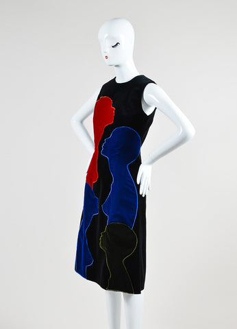 Black, Red, and Blue Christopher Kane Cotton Velvet Sleeveless Shift Dress Sideview
