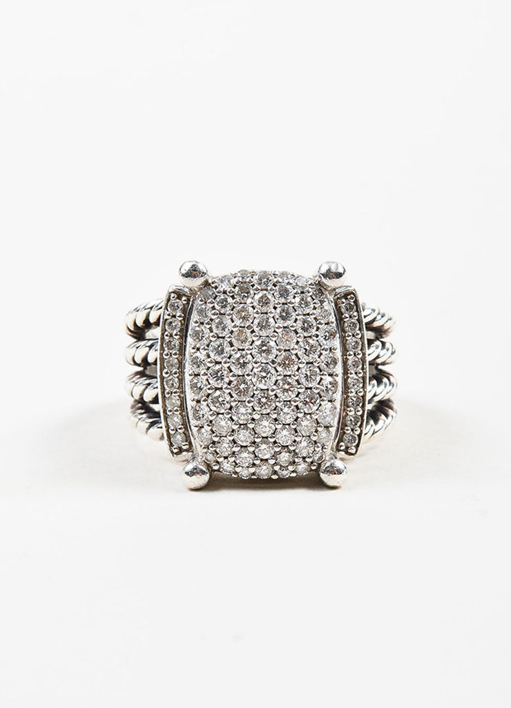 "Sterling Silver and Pave Diamond David Yurman ""Wheaton"" Cable Ring Frontview"