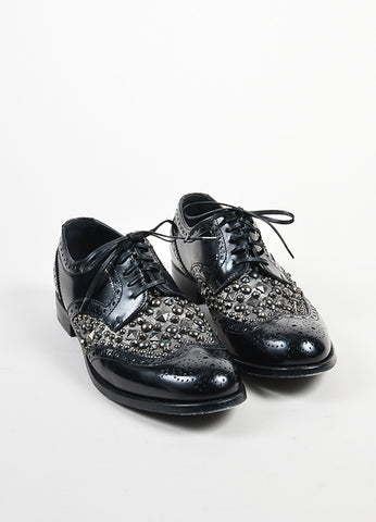 Black and Gunmetal Dolce & Gabbana Leather Studded Lace Up Oxfords Frontview