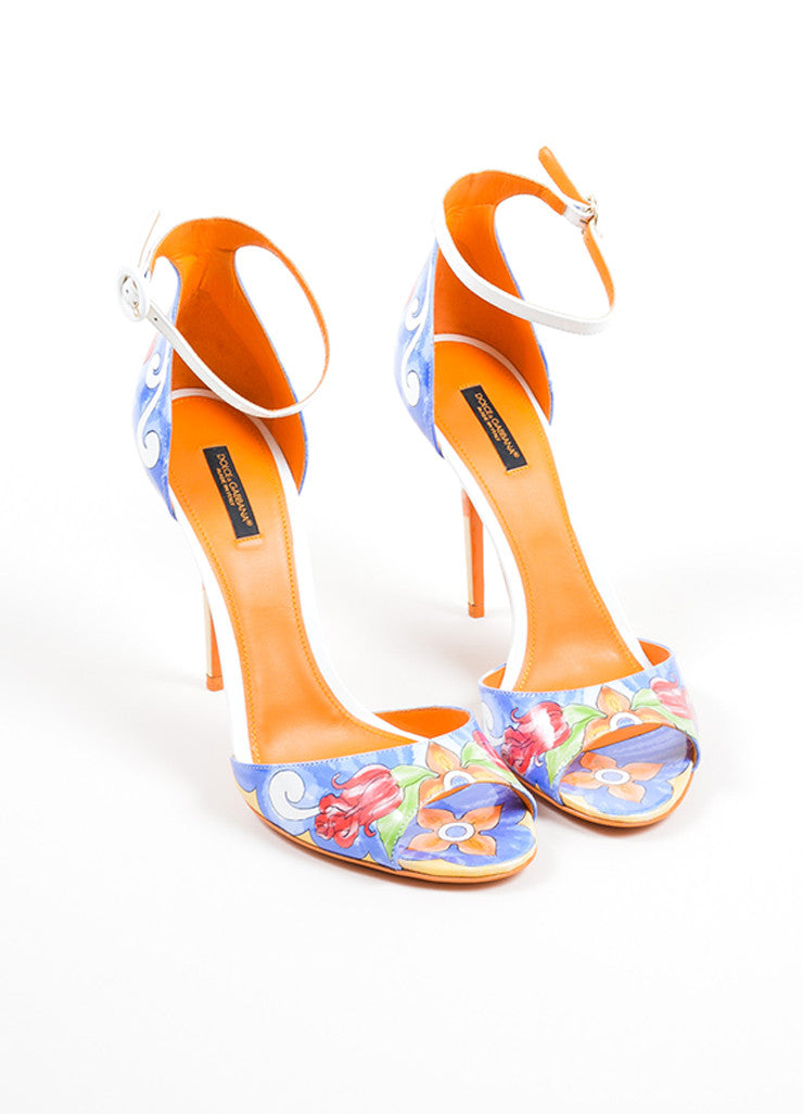 Multicolor Dolce & Gabbana Patent Leather Floral Print Sandals Frontview