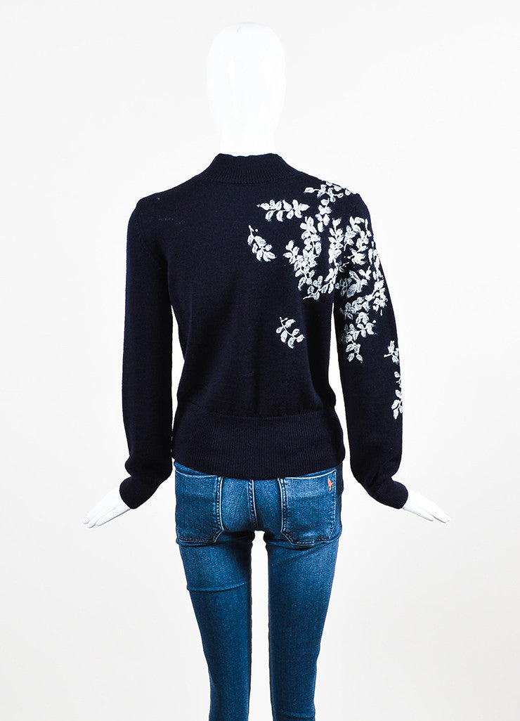 Dries van Noten Navy Blue and Metallic Wool Painted Flower Sweater Backview