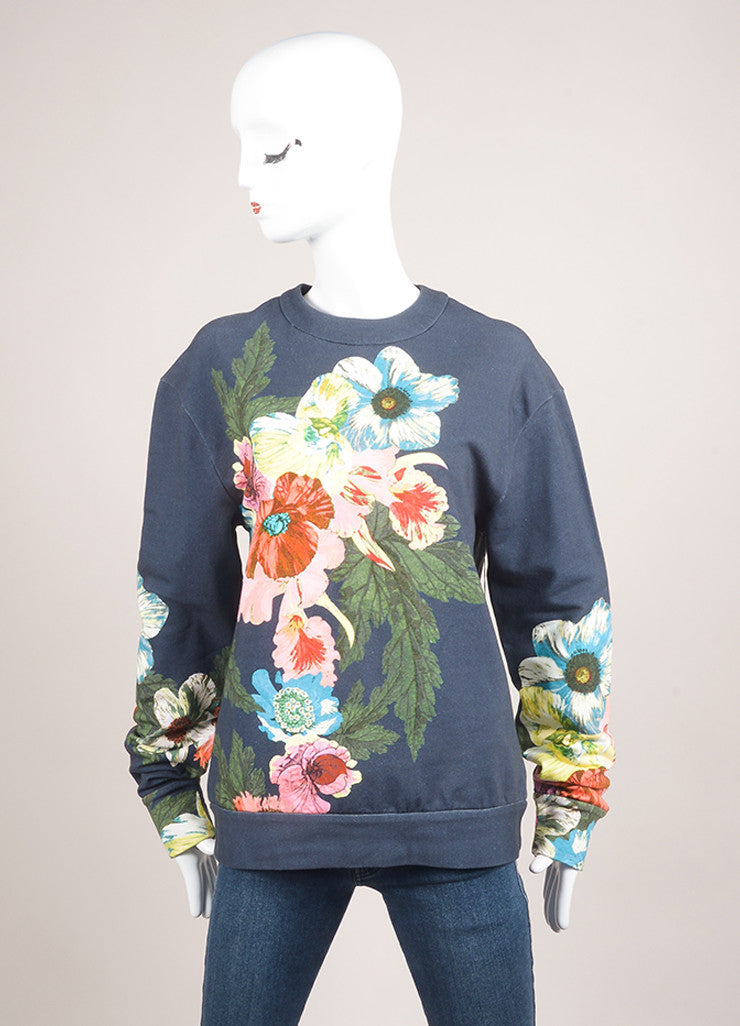 "Erdem New With Tags Navy and Multicolor Floral Graphic ""Zea"" Long Sleeve Pullover Frontview"