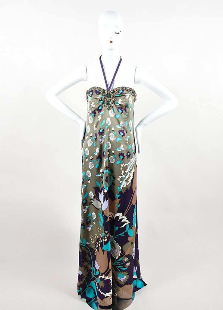 Escada Multicolor Silk Floral Print Rhinestone Beaded Halter Gown Frontview